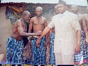 Bamunka - Dr. Ntoh Daniel Belengka receives traditional benediction upon his election as Lord Mayor of Ndop Council, 2007