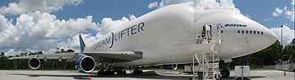 Boeing Dreamlifter - A wide angle photo of a 747 Dreamlifter