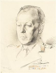 Pencil portrait of a balding middle-aged man in military uniform, with two rows of medal ribbons.