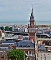 Dunkerque Belfried Blick vom Turm aufs Rathaus 1.jpg