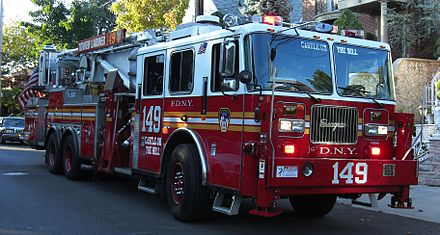 A tower ladder is another type of truck operated by the FDNY. Pictured is a tower ladder truck operated by Ladder Co. 149, quartered in Brooklyn. Dyker Heights Ladder 149.jpg
