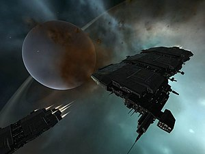 "Eve Online - Two freight haulers called ""Charons,"" a kind of ship introduced in the ""Red Moon Rising"" content patch"