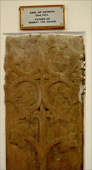 Robert de Brus, 6th Lord of Annandale - Earl of Carrick burial slab - Holme Cultram Abbey