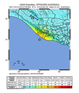 2012 Guatemala earthquake 7.4 Mw earthquake