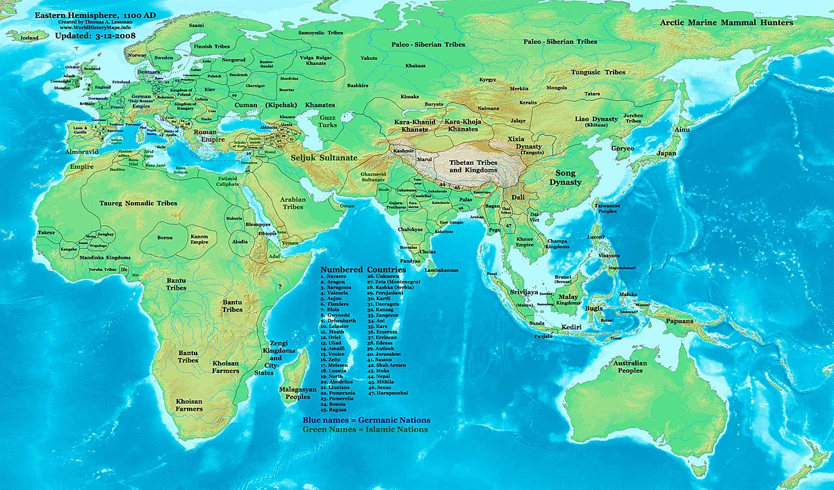 Eastern Hemisphere Map With Countries 12th century - Wikiped...