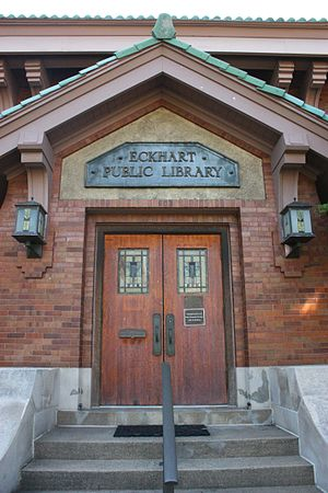 American Craftsman - Detail of the original entrance to the Eckhart Public Library, circa 1911, in Auburn, Indiana.