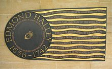 Edmond Halley plaque in Westminster Abbey.jpg