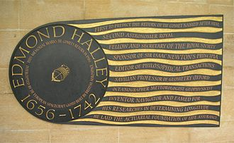 Edmond Halley - Plaque in South Cloister of Westminster Abbey