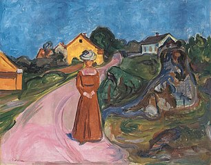 Street in Åsgårdstrand and a Woman in Red Dress