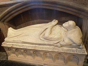 Sir Stephen Glynne, 9th Baronet - Tomb of Sir Stephen Glynne in St Deiniol's Church, Hawarden, with an effigy by Matthew Noble