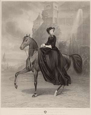 Empress Elisabeth of Austria - Equestrian portrait of Elisabeth at Possenhofen Castle, 1853