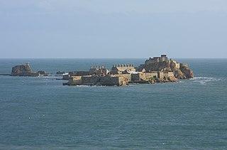 A castle on a tidal island in the parish of Saint Helier, Jersey
