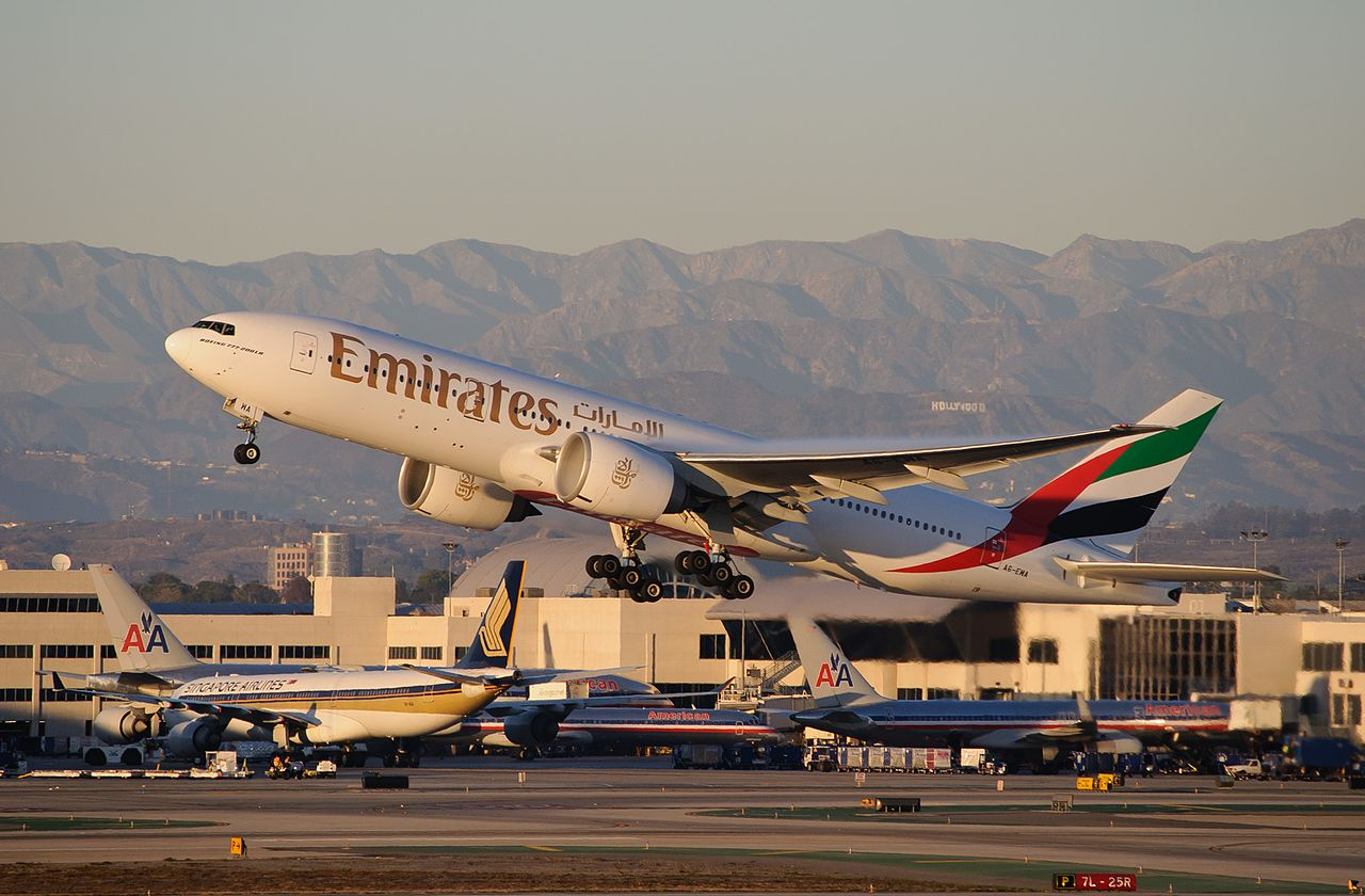 File emirates a6 ewa boeing 777 200lr taking off from lax - Emirates camera ...