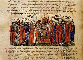 Muslim conquest of Sicily - Emperor Theophilos and his court, from the Madrid Skylitzes