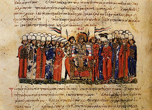 Emperor Theophilos and his court, from the Madrid Skylitzes Emperor Theophilos and his court, Skylitzes Chronicle.jpg