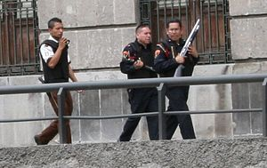 Crime in Mexico - Armed police at the Zócalo, Mexico City.