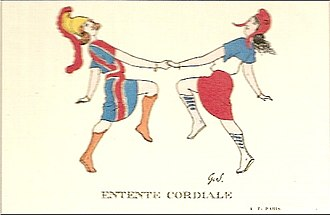 Entente Cordiale - A 1904 French postcard showing Britannia and Marianne dancing together, symbolizing the newborn cooperation between the two countries.