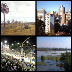 Clockwise from top: El Palmar National Park, Paraná, Carnival in Gualeguaychú, Paraná Delta with Rosario City in the backgroud.