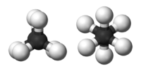 Ball-and-stick models of the two rotamers of ethane