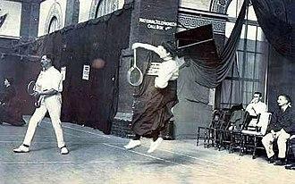 Sir George Thomas, 7th Baronet - George Alan Thomas and Ethel B. Thomson playing badminton c. 1905