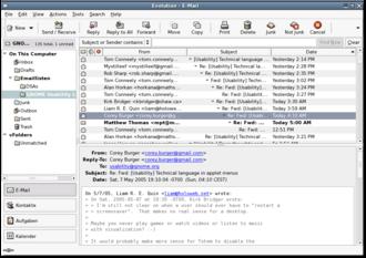 Evolution (software) - An older version of Evolution
