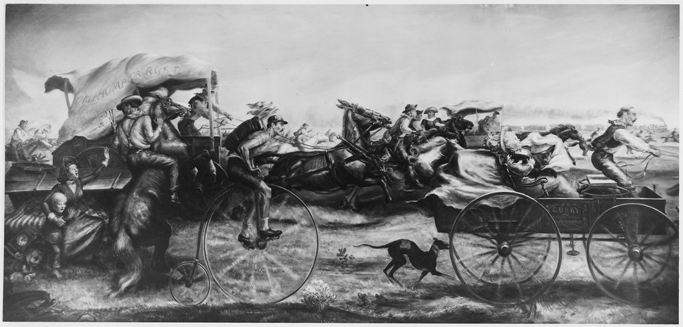 FWA-PBA-Paintings and Sculptures for Public Buildings-painting depicting race involving people in wagons, on... - NARA - 197273