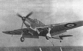 Fairey Fulmar - Fulmar Mk I landing on an aircraft carrier in the Mediterranean, 1941