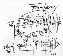 Autograph Janáčeks zu den Fanfaren der Sinfonietta