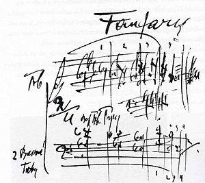 Sinfonietta (Janáček) - Fanfares of the Sinfonietta, Janáček's autograph score