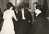 Farah Pahlavi greeting the Kehr Trio after a 1965 concert in Tehran