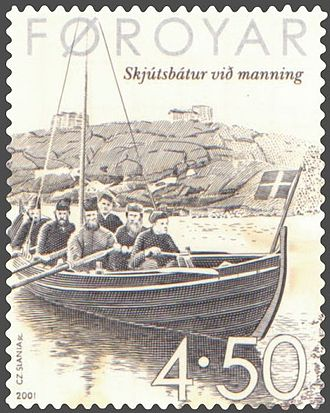 Postage stamps and postal history of the Faroe Islands - Conscripted post boat (skjútsbátur).