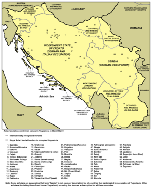 The Holocaust in the Independent State of Croatia - Concentration camps in the Independent State of Croatia on a map of all camps in Yugoslavia in World War II.