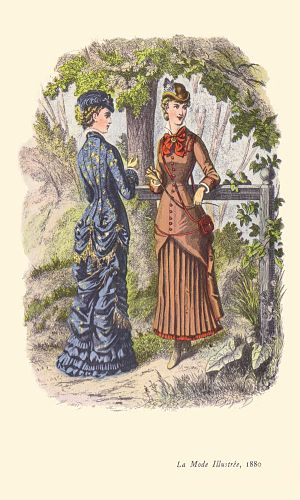 1880s in Western fashion - Princess-line walking dress (left) and hunting costume (right) from La Mode Illustrée, 1880.