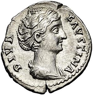 Faustina the Elder - Posthumously issued denarius bearing the legend DIVA FAVSTINA 'the divine Faustina'