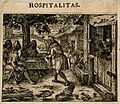 Feast scene representing hospitality; alluding to Abraham an Wellcome V0007641ETR.jpg