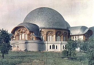 Anthroposophy - The First Goetheanum, designed by Steiner in 1920, Dornach, Switzerland.
