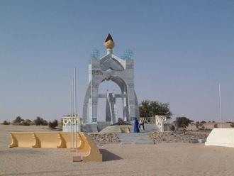 "Tuareg rebellion (1990–1995) - Monument commemorating the 1996 ""La Flamme de la Paix"" ceremony in Timbuktu."