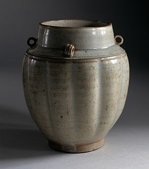 Qingbai ware - Image: Fluted Jar (Quan) with Loops on Shoulder LACMA M.73.48.107