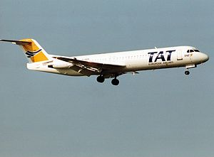 TAT European Airlines - A TAT Fokker 100 on final approach at Zurich Airport in 1992