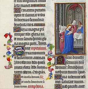 Nunc dimittis - The start of the Nunc dimittis in the Très Riches Heures du Duc de Berry