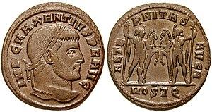 Maxentius - Maxentius as Augustus on a follis.