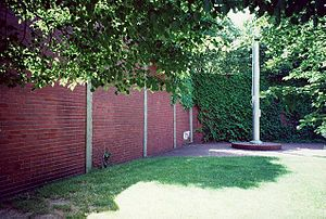 Forbes Field - Forbes Field outfield wall and flagpole in its original location in Oakland