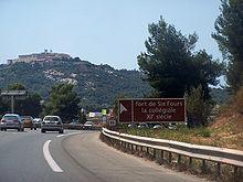 L'autoroute A50 à l'entrée de Six-Fours-les-Plages, en provenance de Toulon