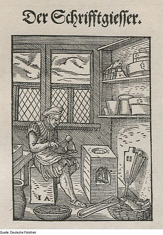 Type casting (typography) - 1568 illustration of a German type founder pouring molten type metal into a hand mold.