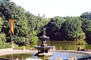 The Ramble and Lake - From Bethesda Fountain. The Lake forms the foreground to The Ramble beyond.