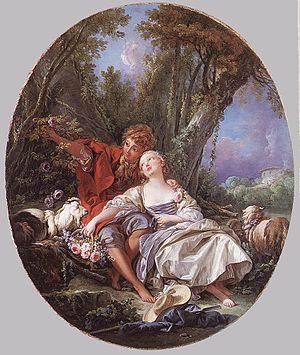 Bastien und Bastienne - Shepherd and Shepherdess Reposing (1761), by François Boucher