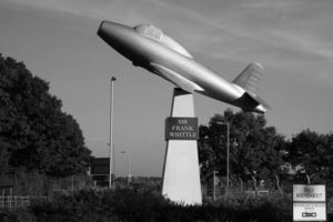 Gloster Aircraft Company - Frank Whittle's memorial showing a full-scale model of the Gloster E28/39