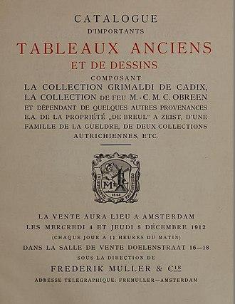 Frederik Muller - Image: Frederik Muller auction sale catalog December 1912 Nieuwe Doelenstraat 16 18 Amsterdam