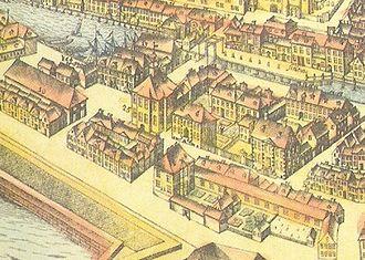 Johann Philipp Graumann - In the middle the Friedrichswerder city counsel (nr. 25) can be seen. To the north along the Spreekanal and the Unterwasserstrasse, was the old mint. Detail Berliner Stadtansicht von Schultz, 1688.