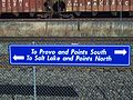 FrontRunner directional sign at Orem Station.JPG